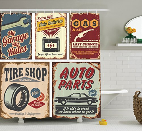 1950s Decor Collection, Vintage Car Metal Signs Automobile Advertising Repair Vehicle Garage Classics Shower Curtain Set