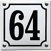 Emaille Huisnummer gebold Wit/Zwart - 64