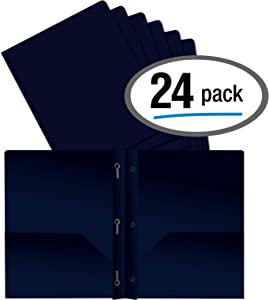 Better Office Products Blue Plastic 2 Pocket Folders with Prongs, Heavyweight, Letter Size Poly Folders, 24 Pack, with 3 Metal Prongs Fastener Clips, Blue