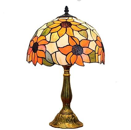 Lámpara De Mesa Tiffany/Arte De Vidrio Artesanal/Sol Flor ...
