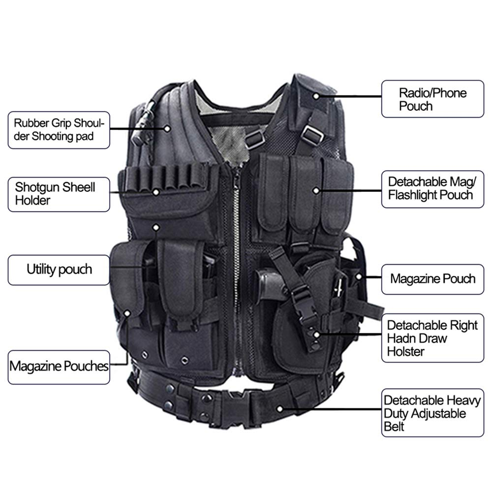 Yakeda Tactical CS Field Vest Outdoor Ultra-Light Breathable Combat Training Vest Adjustable for Adults 600D Encryption Polyester-VT-1063