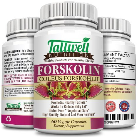 Tallwell Pure Forskolin 250mg Maximum Strength Weight Loss Supplement-Standardized to 20% Forskohlii Potency- 60 Veggie capsules - Money Back Weight Loss Guarantee