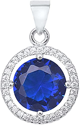 Solitaire Pendant for Necklace Round Simulated Deep Blue Sapphire 925 Sterling Silver