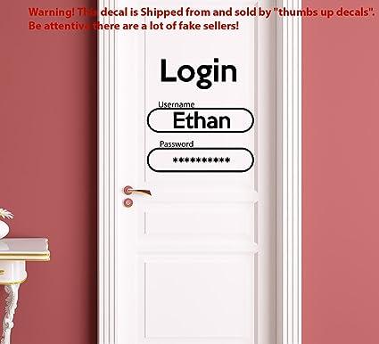 Login Decal for Door Boys Name Decal Password Sticker Vinyl Names Wall Art Nursery Kids Room  sc 1 st  Amazon.com & Login Decal for Door Boys Name Decal Password Sticker Vinyl Names ...