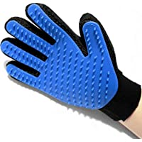 Amazing True Touch Five Finger deshedding glove for dogs and cat hair remover, Get pet grooming gloves, Great for all Dogs & Cats. Grooming Gloves for Dog & Cat, deshedding brush glove for cats