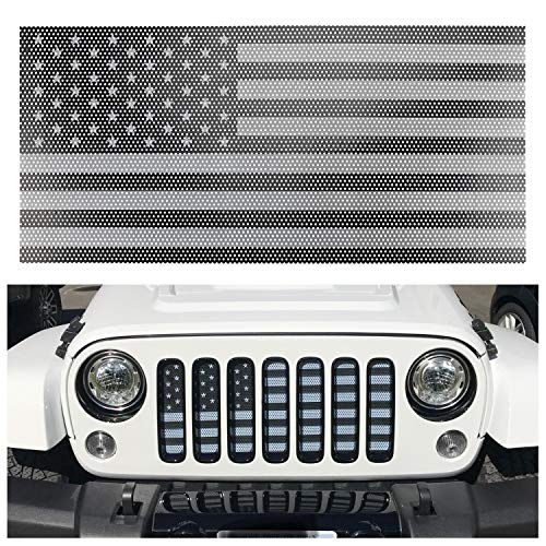 - Seven Sparta Front Grill Insert for Jeep Wrangler JK/JKU 07-18 Flag Grill Insert American Flag Grille Screen, Gray