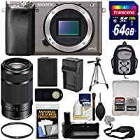 Sony Alpha A6000 Wi-Fi Digital Camera Body (Graphite) with 55-210mm Lens + 64GB Card + Backpack + Battery & Charger + Grip + Tripod + Filter Kit