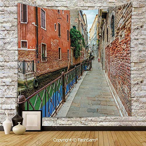 FashSam Tapestry Wall Blanket Wall Decor Empty Idyllic Streets of Venezia Travel Destination Romantic Vacation Old Buildings Home Decorations for Bedroom(W51xL59) -