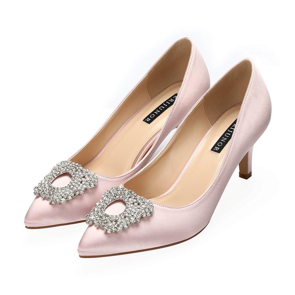 ERIJUNOR Women's Pumps Low Heel Rhinestone Wedding Brooch Satin Evening Dress Wedding Rhinestone Shoes B074P1747D 6 B(M) US|Blush 8cfadd