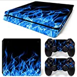 Gam3Gear Vinyl Decal Protective Skin Cover Sticker for PS4 Slim Console & Controller - Blue Flame