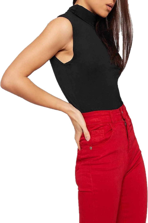 Ladies Polo Neck Womens Sleeveless Stretch Turtle Neck Jersey Basics Top 8-26
