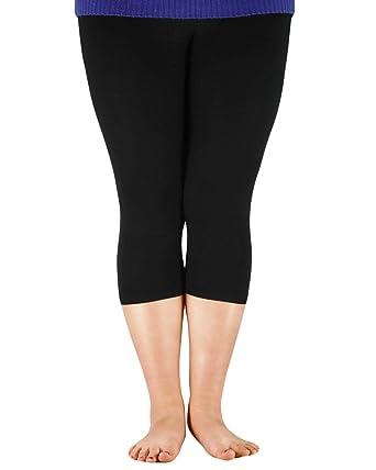 abb546e0574cc Zando Women s Basic Solid Color Plus Size Three-quarter Pants Tights  Breathable Flexible Extra Soft