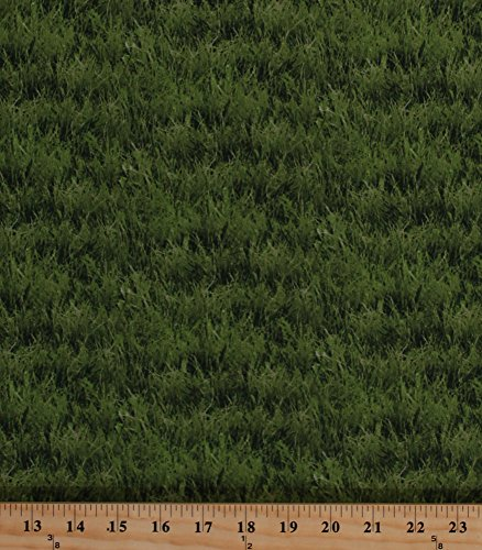 Cotton Landscape Medley Grass Nature Outdoor Allover Cotton Fabric Print by the Yard 250 Green