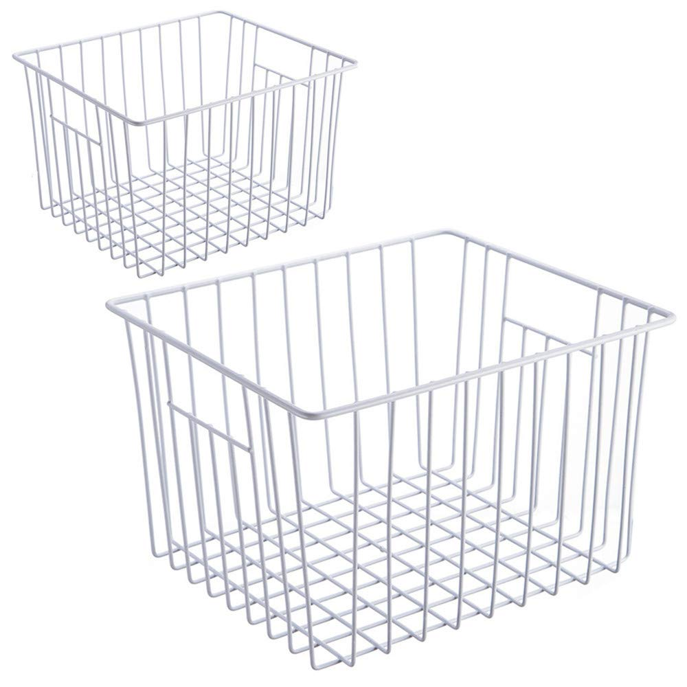 SANNO Wire Storage Basket Bins Organizer with Handles for Kitchen, Pantry, Freezer, Cabinet - Pearl White (Set of 2)