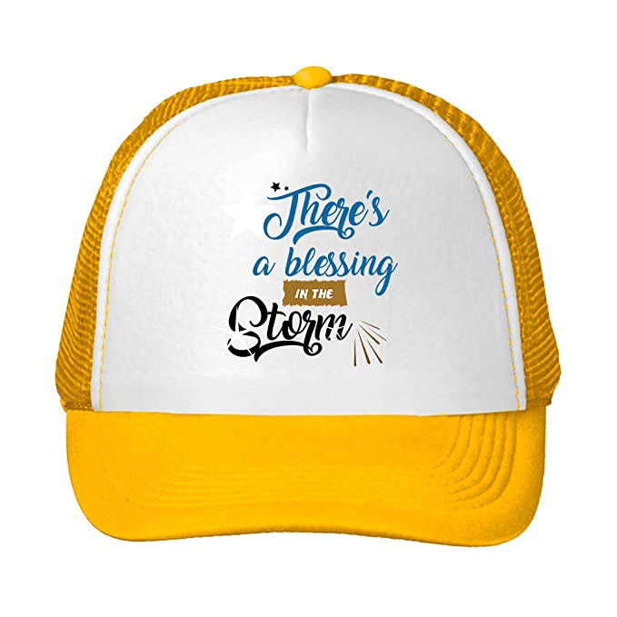 33da975e4 Amazon.com: Trucker Hat There's a Blessing in The Storm Polyester ...