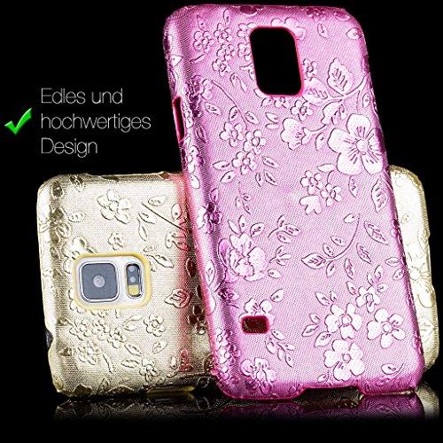 Apple iPhone 5C | iCues chrome fleurs rose Case | [Protecteur d'écran, y compris] Floral Ladies Femmes Filles strass Glitter Glitter luxe Bling dames femmes filles cas Chrome peau Couvercle de protect