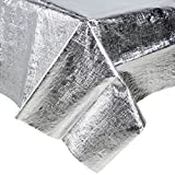 38320 54'' x 108'' Silver Metallic Plastic Table Cover - 12/Case By TableTop King