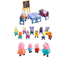 iDream Kid's PVC Peppa Pig Family & Friends with Classroom Setup