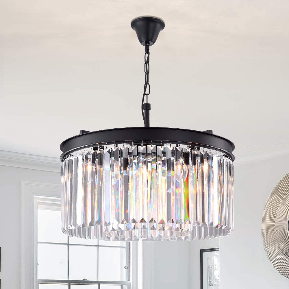 Lumos Luxury Modern Crystal Chandelier Pendant Ceiling Lamp Crystal lighting fixture for Dining Room, Living Room 5 lights