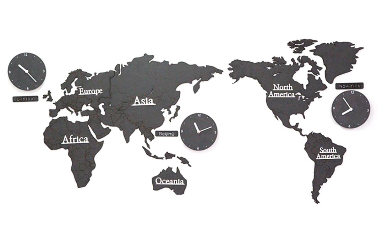 GREEM MARKET(グリームマーケット) 選べるカラー 壁掛け時計 掛け時計 大きい 特大 ウォール クロック シンプル ナチュラル 北欧風 木製 世界地図 ワールド くすみ色 ブラック 黒 品番:GMS01522-B B079MCB1W4 ブラック ブラック