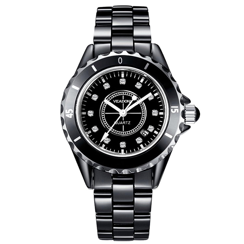 veadons Diamant Keramik wasserdicht Designer Quartz Uhren fÜr MÄnner schwarz