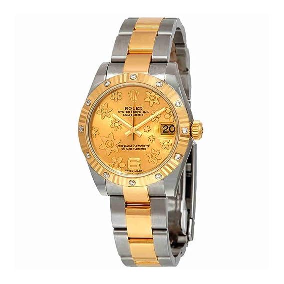 Rolex 178313CFO - Reloj de pulsera automático para mujer, acero y oro de 18 quilates, diseño floral de champán: Amazon.es: Relojes