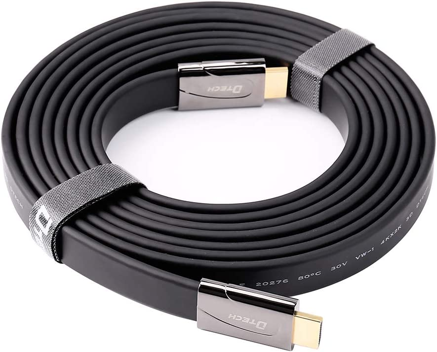 DTECH 32ft Flat High Speed HDMI 2.0 Cable 4K 30Hz Ultra HD 1080p 3D with Ethernet HDCP ARC Support 26AWG Video Cord 10 Meters, Black