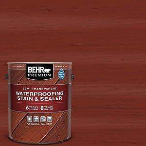 BEHR Premium 1-Gal. Redwood Semi-Transparent Deck, Fence & Siding Wood Stain