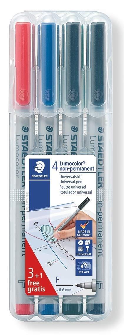 non-permanent 3 und 1 Gratis F-Spitze Staedtler Lumocolor 316 WP4 P Universalstift 4 St/ück in aufstellbarer Box 0.6 mm
