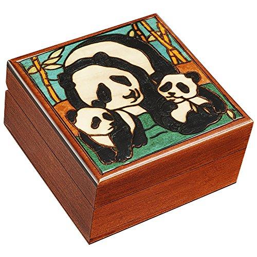 Panda Jewelry Box - Polish Handmade Panda Mom and Two Baby Box Panda Lover's Keepsake Kids Adult Jewelry Box
