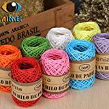 FINCOS Color Raffia Paper Rope Handmade DIY Kindergarten Weaving Flowers Ropes Baking Packaging Materials Hand-Knit Rope 10 Meters - (Color: White)
