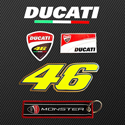 (LLAP Sticker Decals for Ducati Key Chain Set Motorcycle 46 Valentino Rossi Helmet Stickers (5 Packs))