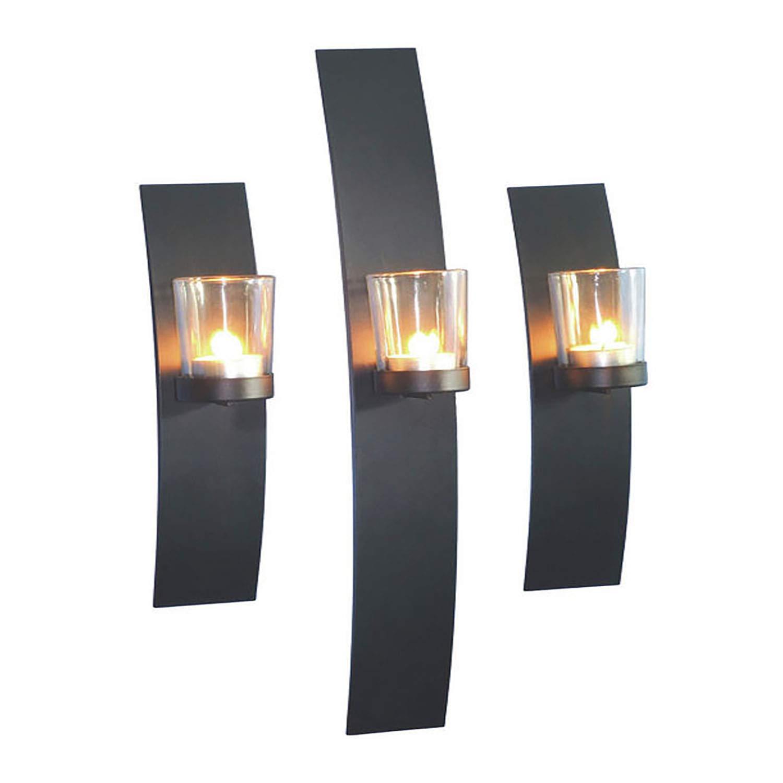Modern y Decorativa 3/Juego de portavelas para Velas de t/é Pared de Metal con Cilindros de Cristal