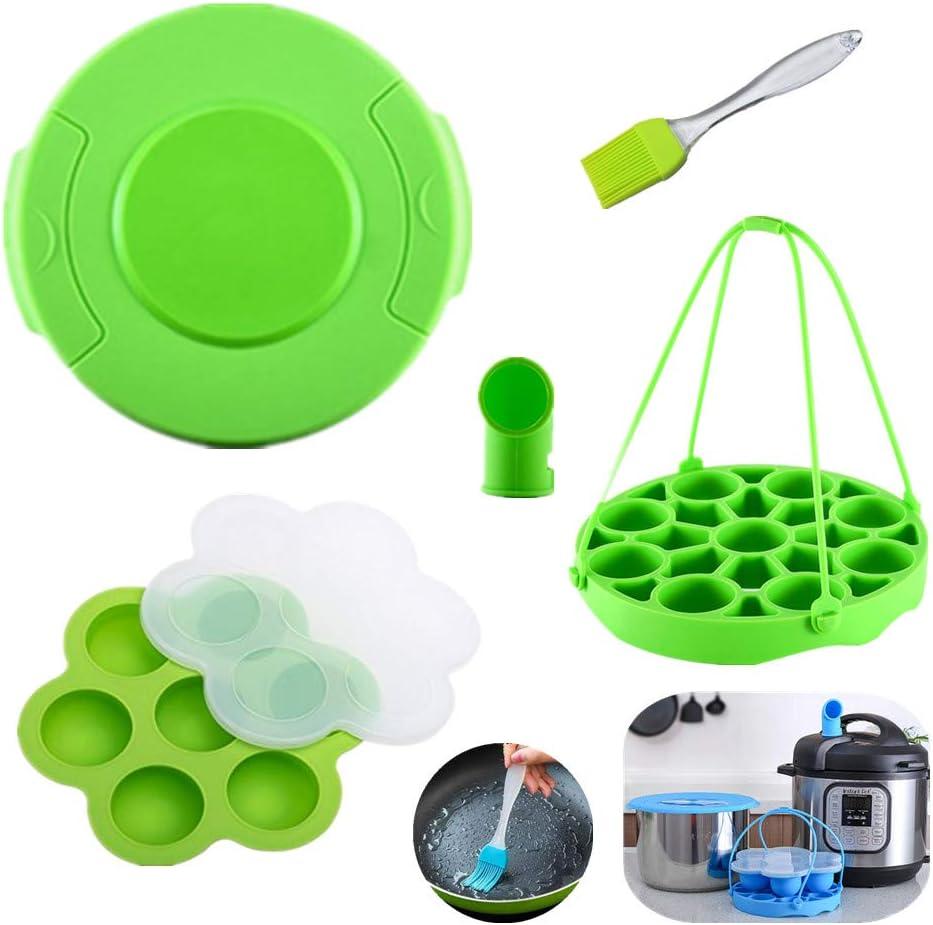 KeepingcooX 5 Pack Pressure Cooker Accessories Set Compatible with Instant Pot, Fit For Ninja Foodi 6,8 qt - Pot Lid, Steamer Basket Insert with Sling, Steam Diverter, Egg Bite Molds, Brush