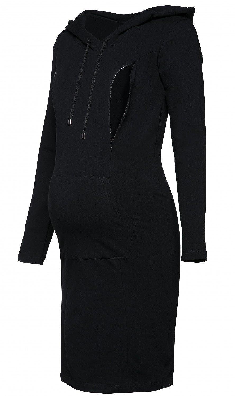 Happy Mama. Women's Maternity Nursing Sweatshirt Hooded Dress Long Sleeves. 299p nursingdress_299