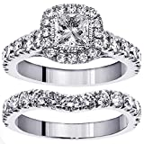 3.00 CT TW Halo Princess Cut Diamond Encrusted Engagement Bridal Set in 14k White Gold - Size 4