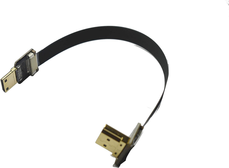 Short Flat Slim Thin HDMI Mini FPV HDMI Cable Mini HDMI Male to Standard HDMI Full HDMI Male 90 Degree Angle for Canon 5D3 5D2 Panasonic lumix GH3 GH2 Sony nex 5N 5T 5R 7N DJI Drone Gimbal 15CM