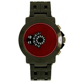 4c2de15e03e8 Softech Men s Jump Hour Disk Display Gun Black with Red Face Metal Wrist  Watch Analog Quartz Extra Battery  Amazon.co.uk  Watches