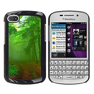 TopCaseStore / la caja del caucho duro de la cubierta de protección de la piel - Green Forest Road - BlackBerry Q10