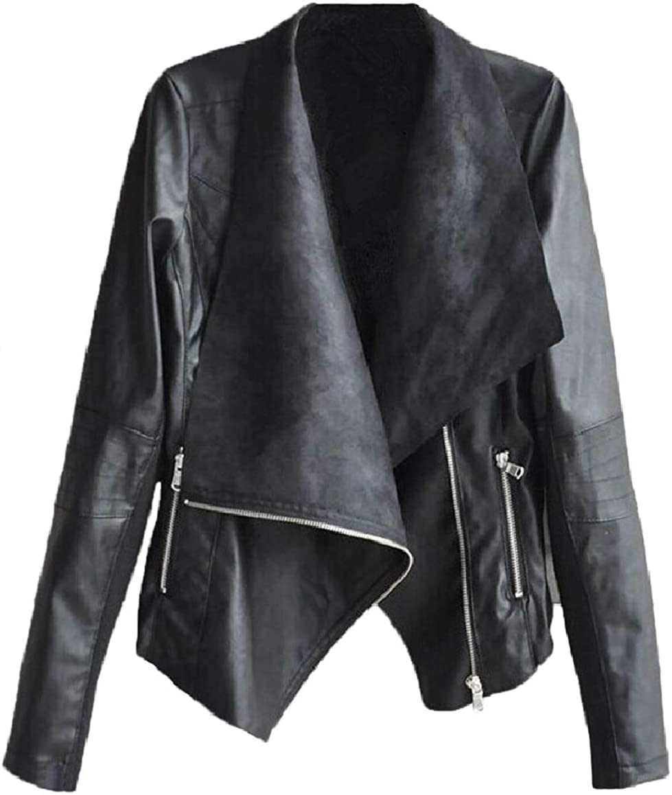 RingBong Womens MotorcycleBaggy Turn Down Collar Oblique Zipper Pu Leather Jacket