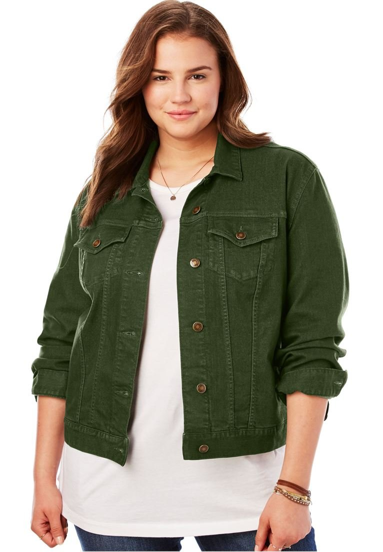0c5c9ed7fcc Galleon - Woman Within Plus Size Stretch Denim Jacket - Forest Green ...