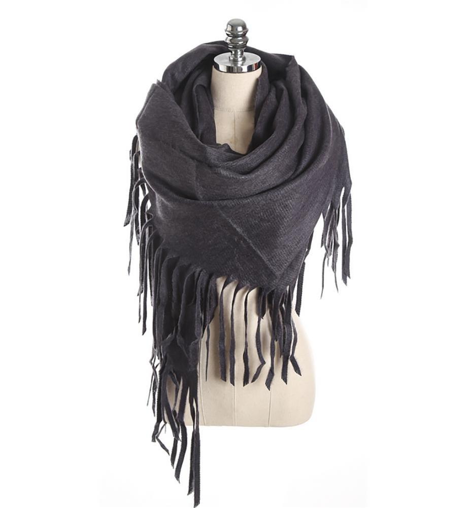 SALY Imitación cachemira bufanda larga borla , gray