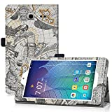 Alcatel Onetouch POP 7 LTE Tablet Case Cover , Famavala PU Leather Case Cover For 7-inch Alcatel Onetouch POP 7 LTE (2016 T-Mobile Model 9015W ) Tablet (MapWhite)
