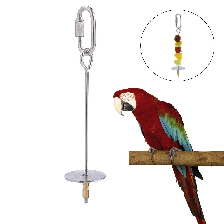 Aolvo Parrot Foraging Toys, acero inoxidable pájaros pinchos verduras frutas tratamiento juguete, comida palo de carne colgante soporte comedero para Parrot Presupuesties Parakeet Cockatiels Macaw Cage (plata)