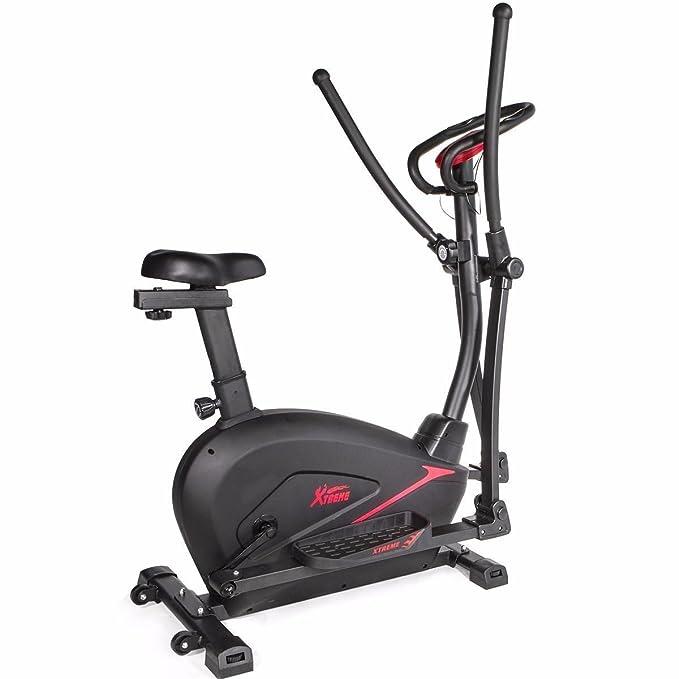 Nueva 2 en 1 Dual de cardio trainer bicicleta estática elíptica entrenamiento estacionaria paso a paso: Amazon.es: Jardín