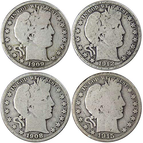 Barber Silver Half Dollar All Mint 4-Coin Set Average Circulated