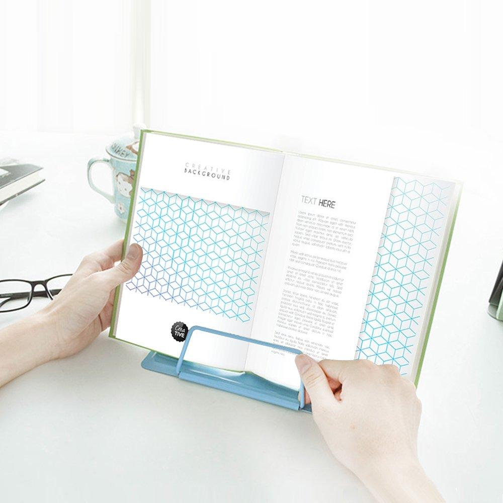 Reading Bookstand Book Holder, Kicpot Adjustable and Portable Reading Book Stand Document Holder (Iron Blue) by Kicpot (Image #6)