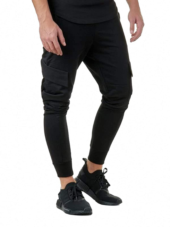 SweatyRocks PANTS メンズ Large ブラック B07MQZZ4F2