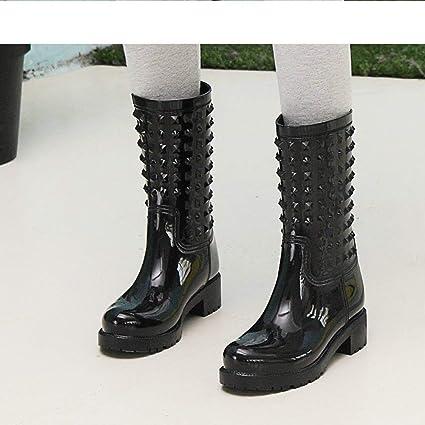 YJxiaobaozi Regenstiefel Damen Regen Schuhe Mode U Schwarz