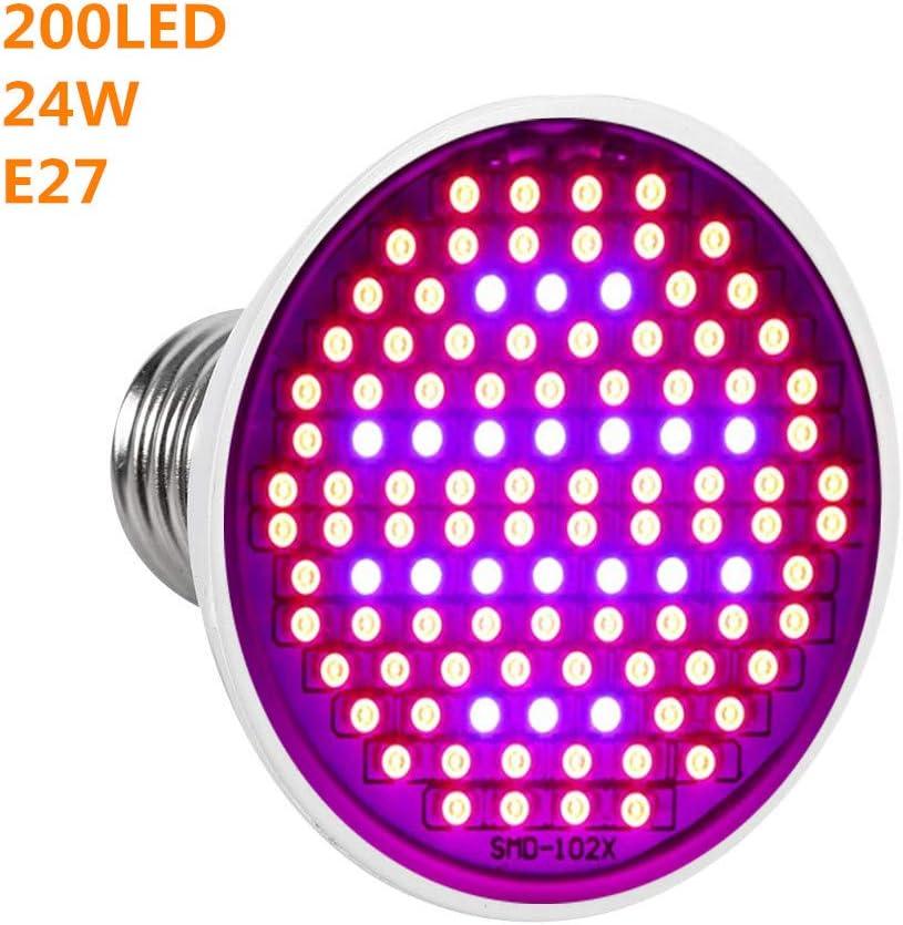 Bombilla lámpara de crecimiento iluminación luz de planta 24 W E27 LED Spectrum lámpara de crecimiento de plantas, lámpara de cultivo para jardín 200 LED